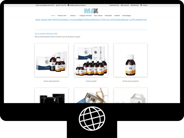 MaxSkinCare shop — webshop